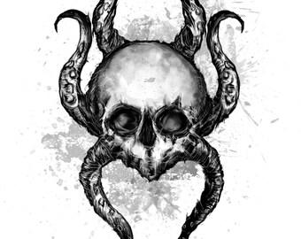 Skulltopus A4 Print B&W