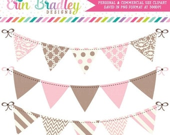80% OFF SALE Pink and Brown Bunting Banner Flag Clipart Clip Art Set Personal & Commercial Use