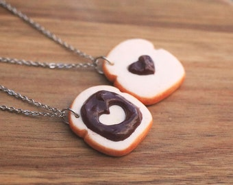 Chocolate Toast Friendship Necklaces, Food Jewelry, Miniature Food, Birthday Gift, Friendship Necklace, Friend necklace, bff Necklace