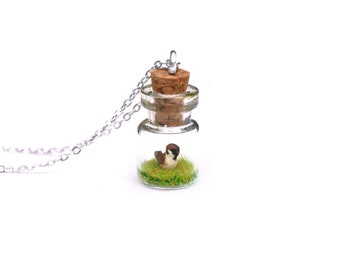 Sparrow Necklace; Miniature Terrarium, Nature Gift for Gardeners, Spring; 1.5cm tall