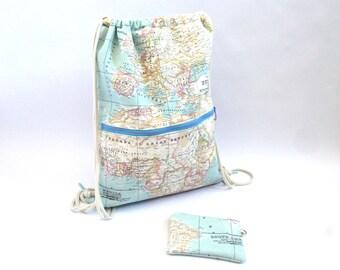 Mochila mapamundi, mochila, mochila saco, mochila tela, tela mapamundi, mapamundi, cartografía, monedero mapa, mapa, monedero, mochila mapa