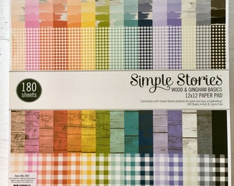 Wood & Gingham 12X12 Basics Paper Pad by Simple Stories, 180 pages for scrapbooking, pocket letters/scrapbooking, papercrafing, card making