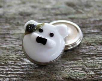 Fantasy Snap Button Bear Bead White Purple