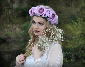Mixed purple flower crown, flower garland, Lana Del Ray, Wedding headpiece, nature inspired, vintage inspired, rustic rose, love.