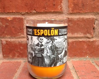 Liquor Bottle Candle//Upcycled Liquor Bottle//Tequila Candle//Orange Candle//ScentedCandle//Handpoured Candle//Soy Candle