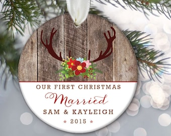 """Our First Christmas Married Engaged Together Personalized Christmas Ornament Deer antlers & """"wood"""" Ornament Wedding Bridal Shower Gift OR382"""