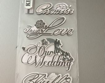 Scrap-booking Stickers Paper Wedding Vintage  Word Bride Promise True Love Our Wedding Blissful Forever Autocollants Seven (7)