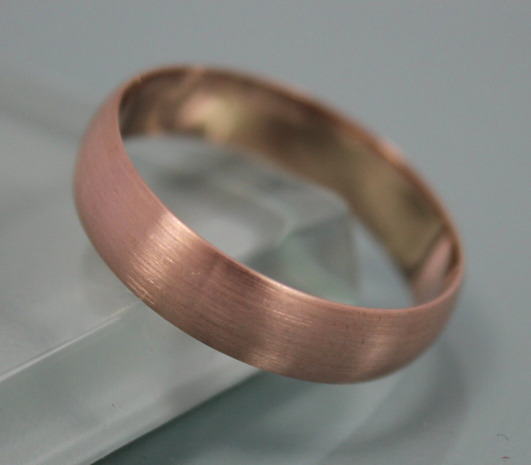 Rose Gold Ring Brushed 14k Solid Rose Gold 5mm Classic