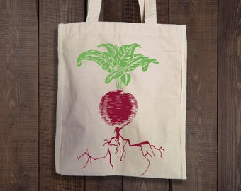 Beet Bag - Natural Beet Tote - Reusable Shopping Tote Bag - Grocery Bag - Vegetable Tote -