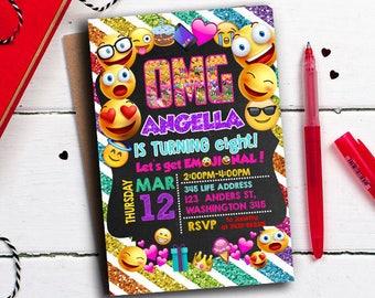 Emoji Invitation, Emoji Party, Emoji Birthday Invitation, Girl Emoji Invitation, Thank you Emoji Birthday Invitation, Smile Invitation OMG