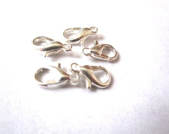 5 lobster claw clasps silver 1.2 mm