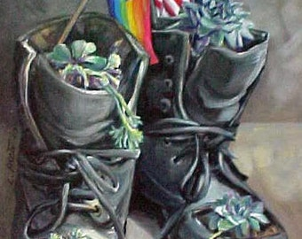 Non-Combat Boots, original acrylic painting
