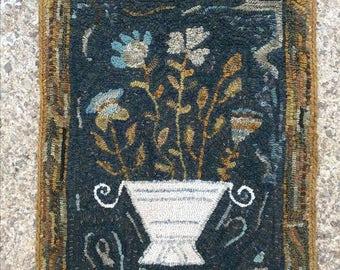 Elda's Flowers - Hooked Rug PATTERN on LINEN - from Notforgotten Farm™