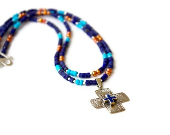 Lapis Double Strand Gemstone Necklace with Vintage sterling Cross, Religious Jewelry, Faith, Hope, Mixed Gemstone necklace