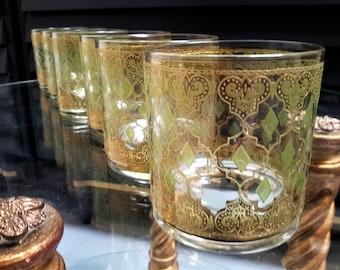 Culver Glasses Valencia 22K Gold Barware Green Diamonds Double Old Fashioned 12oz Set of 5 + 1 Wedding Gift
