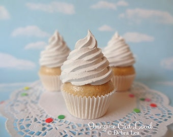 Fake Cupcake White Vanilla Faux Photo Prop Kitchen Decor Favor