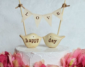 Wedding cake topper and L O V E banner...package deal ... happy day love birds and fabric banner included