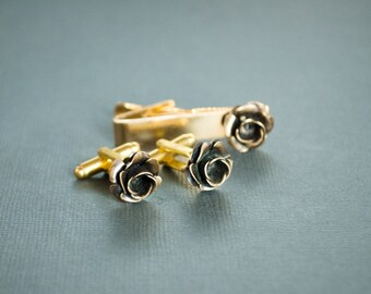 Rose Cuffinks and Tie Clip Set Gothic Victorian Steampunk Jewelry Antique Brass Mens Cuff Link Accessories