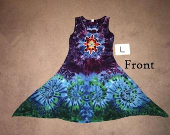 Tie Dyed Dress ~ Mandala/Heart with Aqua Spiral Waves ~ i-8149 ~ Large