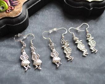 Day of the Dead Dancing Skeleton Earrings // Dia de los muertos // Calaveras // Mexican // Skeleton Earrings // Skull Earrings