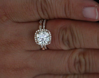 Rose Gold Engagement Ring with forever Brilliant Moissanite Cushion 8mm and Diamond Wedding Band Set