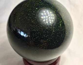 Large Green Goldstone Sphere! 65 mm Green Goldstone Sphere! Deep Green and Sparkly! Deep Green Goldstone Orb with Sparkle and Shine!