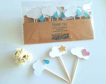Cloud cupcake toppers,Baby shower cupcake topper,Gender Reveal cupcake toppers,Twinkle twinkle star cupcake toppers,Raindrop cupcake toppers