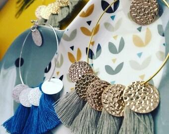 Earrings ~ Sunny ~ Golden brass, gray tassels Golden sequins and beads