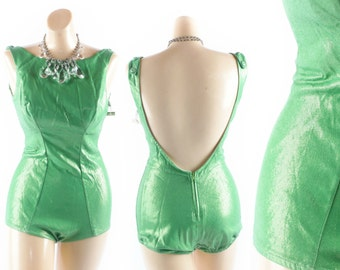 RESERVED ///////////////// GREEN Lurex Swimsuit // Lurex Swimsuit // 1950s Swimsuit // 50s Swimsuit // Metallic Swimsuit - sz Medium