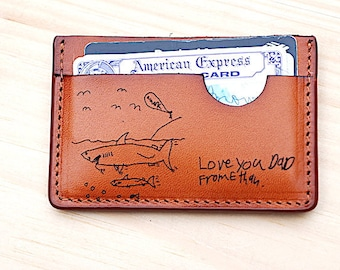 Slim Pocket Wallet, Love You Dad, Kid Drawing on Leather Wallet, Personalized Credit Card Wallet, Fathers Day, Birthday Gift For Dad, Daddy