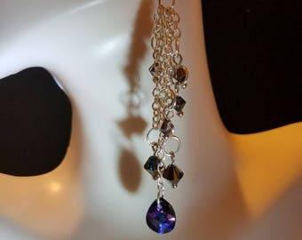 Swarovski Crystal Purple Chyandelier Dangle Earrings