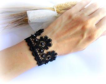 Black lace bracelet, black bridesmaid bracelet, embroidered lace cuff, black lace cuff, bridal bracelet, lace jewelry
