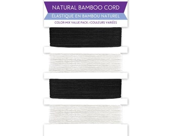 Black and White Bamboo Cord for Jewelry and Crafts - 16 Yards Total