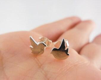 925 Sterling Silver Sparrow Bird Earrings, 925 Sterling Silver, Bird Earrings, Bird Studs, Bird Earrings, Sparrow Earrings, Bird Jewelry