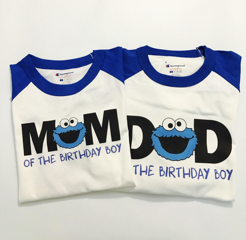 Custom Cookie Monster Birthday Shirt Mom and Dad Raglan