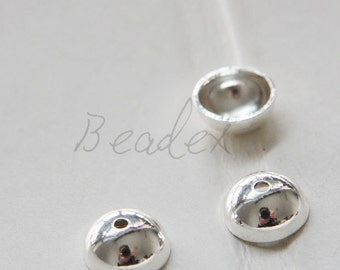 10 Pieces / Silver Plated / Real Silver / Bead Cap / Brass Base 10mm (C1712//J386)