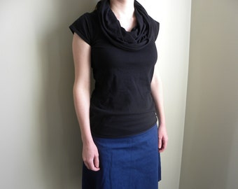 Womens Jersey Knit Long Cowl Neck Top Shirt -Handmade Clothing -Made to Order -Cinders