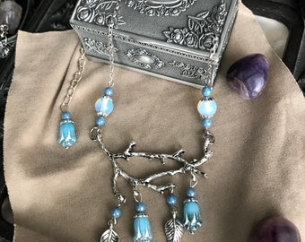 Pendant branch tree and flower beads blue - magical-Celtic - antlers - pagan - enchanted - wiccac - romantic - onorisme