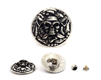 1 pc Silver Tone Coin Skull Head Concho Stud Rivet Screw Back Leather Craft Decorations Findings 34 mm. SK 34180 Sun