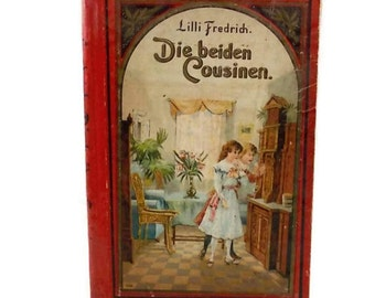 Circa 1906 German Childs Story Book Antique Decorative Book Vintage Book Decor Red Brown Blue