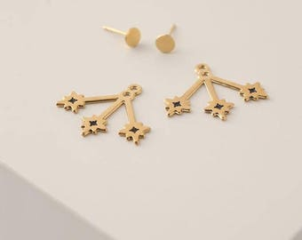 Star Earrings, Star Ear Jackets, Gold Jacket Earrings, Star Stud Earrings, Front Back Earrings, Gold Double Back Earrings, Boho Ear Jackets