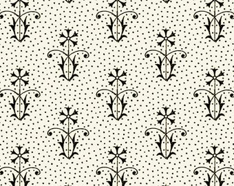 Floral and Dots Ecru, Letter Stitch, J Wecker Frisch, Quilting Treasures, Letter Fabric, Quilting, Cotton, Black and White