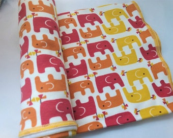 BABY BLANKET - ORGANIC Knit - Elephants - Pink & Yellow  ***Ready to Ship ***