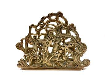 Vintage Brass Letter Holder by Teleflora, Bohemian Decor Brass Desk Accessory