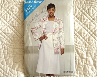 Jacket Skirt, S M, Butterick 5479 Pattern, Loose, Unlined, Notched Collar, Long Rolled Up Sleeves, A-Line Wrap, 1986 Uncut, Size 10 12 14
