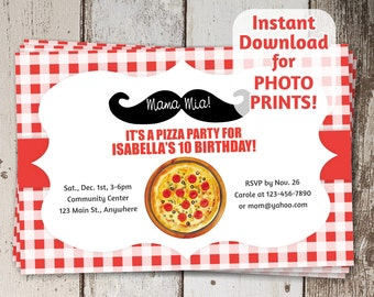 Pizza Mustache Birthday Party Invitation - Instant digital file download - Photo prints or card stock | Make your own Italian pizza - Italy