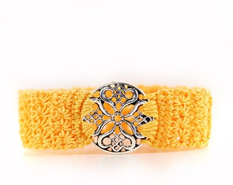 celtic - bracelet - crochet bracelet - yellow - yellow bracelet - crochet jewelry - jewellery - ornament - fabric jewelry