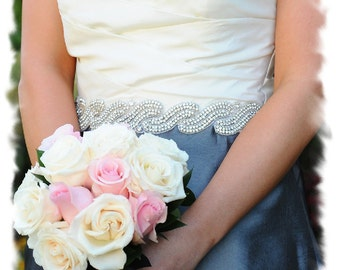 Wedding Sash, Rhinestone Bridal Sash, Crystal Wedding Dress Belt, Jeweled Bridal Belt, Silver Beaded Bridal Sash, Bridesmaid Sash, No 1191S3