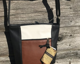 Leather Crossbody purse-Adjustable Strap Purse-Emily Style multi color caramel, black and cream leather. Made in the USA