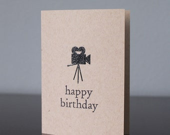 Handmade Vintage Movie Camera Birthday Card